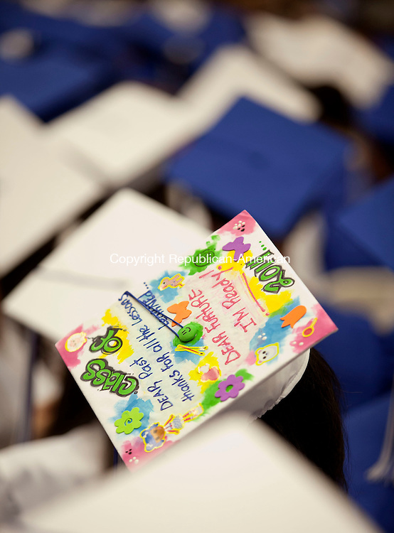 WATERBURY, CT-17 June 2014-061714BF15- The decorated cap of a Crosby High School graduate during graduation Tuesday night. Bob Falcetti Republican-American