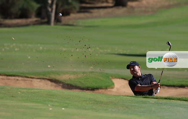 Jordan Smith (ENG) in a bunker on the 1st green during Round 2 of the ISPS Handa World Super 6 Perth on Friday 17th February 2017.<br /> Picture:  Thos Caffrey / Golffile<br /> <br /> All photo usage must carry mandatory copyright credit     (&copy; Golffile | Thos Caffrey)