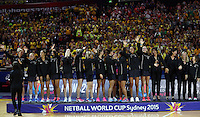 16.08.2015 Silver Ferns recieve their silver medals during the Silver Ferns v Australia Gold Medal netball match at the 2015 Netball World Cup at All Phones Arena in Sydney Australia. Mandatory Photo Credit ©Michael Bradley.
