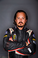Feb 8, 2018; Pomona, CA, USA; NHRA top fuel driver Steve Torrence poses for a portrait during media day at Auto Club Raceway at Pomona. Mandatory Credit: Mark J. Rebilas-USA TODAY Sports