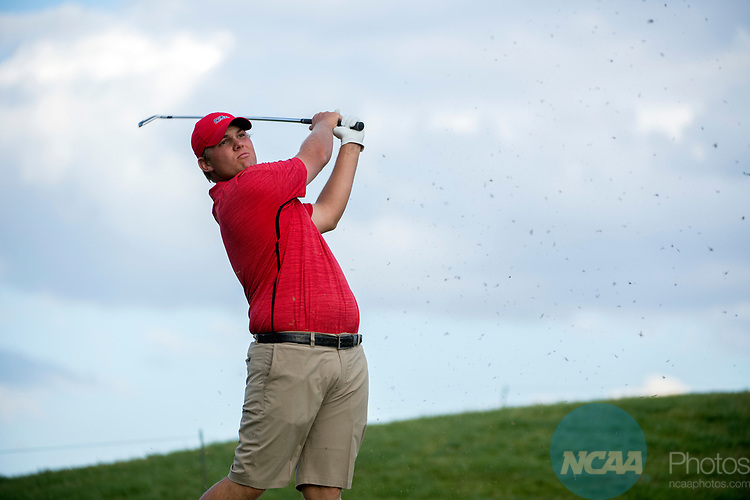 SUGAR GROVE, IL - MAY 29: Braden Thornberry of Ole Miss tees off during the Division I Men's Golf Individual Championship held at Rich Harvest Farms on May 29, 2017 in Sugar Grove, Illinois. Thornberry won the individual national title with a -11 score. (Photo by Jamie Schwaberow/NCAA Photos via Getty Images)