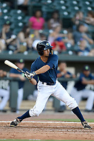 Designated hitter Jacob Zanon (21) of the Columbia Fireflies bats in a game against the Augusta GreenJackets on Sunday, July 30, 2017, at Spirit Communications Park in Columbia, South Carolina. Augusta won, 6-0. (Tom Priddy/Four Seam Images)