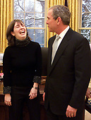 "Jenny Steer, prize winner in the U.S. - U.K. Millennium essay contest for the essay ""The Impotance of the U.S. - U.K. Alliance"" poses with United States President George W. Bush in the Oval Office of the White House in Washington, DC on February 22, 2001. <br /> Mandatory Credit: Paul Morse / White House via CNP"