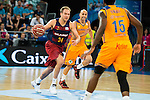 Herbalife Gran Canaria's players Albert Oliver and Royce O'Neale and FC Barcelona Lassa player Brad Oleson during the final of Supercopa of Liga Endesa Madrid. September 24, Spain. 2016. (ALTERPHOTOS/BorjaB.Hojas)