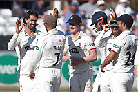Tim Groenewald of Somerset (R) celebrates with his team mates after running out Nick Browne during Essex CCC vs Somerset CCC, Specsavers County Championship Division 1 Cricket at The Cloudfm County Ground on 25th June 2018