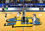 BROOKINGS, SD - JANUARY 6: Macey Kvilvang #14 from North Dakota State University jumps the opening tip with Myah Selland #44 from South Dakota State University during their game Saturday afternoon at Frost Arena in Brookings, SD. (Photo by Dave Eggen/Inertia)