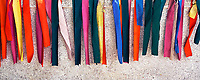 Colourfull strips of cloth covering the burial site, Monastery located next to Angkor Wat