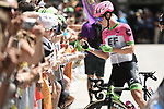 Lawson Craddock (USA) EF-Drapac-Cannondale with fans at sign on before the start of Stage 14 of the 2018 Tour de France running 188km from Saint-Paul-Trois-Chateaux to Mende, France. 21st July 2018. <br /> Picture: ASO/Pauline Ballet | Cyclefile<br /> All photos usage must carry mandatory copyright credit (&copy; Cyclefile | ASO/Pauline Ballet)