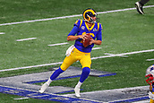 3rd February 2019, Atlanta Georgia, USA; NFL Superbowl LIII, New England Patriots versus Los Angeles Rams; Los Angeles Rams quarterback Jared Goff (16) drops back to pass during the first quarter of Super Bowl LIII
