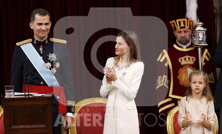 Coronation ceremony in Madrid. King Felipe VI of Spain and Queen Letizia of Spain at Congreso de los Diputados with their children Princess Leonor. June 19 ,2014. (ALTERPHOTOS/EFE/Pool)