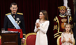 Coronation ceremony in Madrid. King Felipe VI of Spain and Queen Letizia of Spain at Congreso de los Diputados with their children Princess Leonor. June 19 ,2014. (ALTERPHOTOS/EFE/Pool)