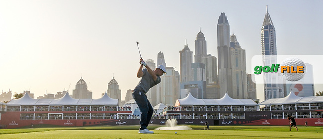 Bryson Dechambeau (USA) on the 18th fairway during Round 4 of the Omega Dubai Desert Classic, Emirates Golf Club, Dubai,  United Arab Emirates. 27/01/2019<br /> Picture: Golffile | Thos Caffrey<br /> <br /> <br /> All photo usage must carry mandatory copyright credit (&copy; Golffile | Thos Caffrey)