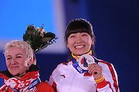 OLYMPICS: SOCHI: Medal Plaza, 15-02-2014, Freestyle Skiing, Ladies Aerials, Alla Tsuper (BLR), Mengtao Xu (CHN),  ©photo Martin de Jong