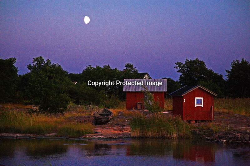 Moon over Quiet Harbor on the island of Kökar in Åland