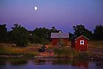 Moon over Quiet Harbor on the island of Kökar in Åland