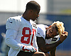 Victor Cruz #80, New York Giants wide receiver, left, kneels alongside Odell Beckham Jr. #13 during practice at Quest Diagnostics Training Center in East Rutherford, NJ on Monday, Aug. 29, 2016.