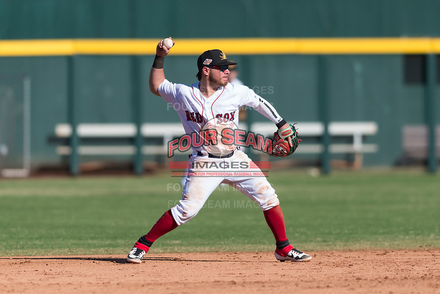 Mesa Solar Sox second baseman Esteban Quiroz (2), of the Boston Red Sox organization, throws to first base during an Arizona Fall League game against the Salt River Rafters at Sloan Park on October 30, 2018 in Mesa, Arizona. Salt River defeated Mesa 14-4 . (Zachary Lucy/Four Seam Images)