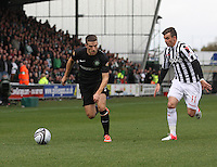 Adam Matthews outstrips Graham Carey in the St Mirren v Celtic Clydesdale Bank Scottish Premier League match played at St Mirren Park, Paisley on 20.10.12.