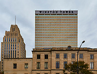 View of the Winston Tower in downtown Winston-Salem, North Carolina