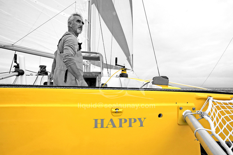 "'Happy' (the sister ship of Mike Birch's famous Olympus) skippered by Loick Peyron preparing to take part in this 10th transatlantic race ""La Route du Rhum"", La Trinité-sur-Mer, Brittany, France."