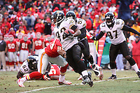 Jacksonville Jaguars Maurice Jones-Drew returns a kickoff 25-yards during the second quarter at Arrowhead Stadium in Kansas City, Missouri on December 31, 2006. The Chiefs won 35-30.