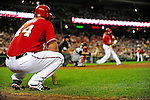 24 September 2010: Washington Nationals first baseman Adam Dunn watches teammate Ian Desmond from the on-deck circle during a game against the Atlanta Braves at Nationals Park in Washington, DC. The Nationals defeated the Braves 8-3 to take the first game of their 3-game series. Mandatory Credit: Ed Wolfstein Photo