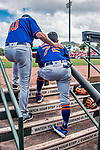 28 February 2019: New York Mets  top prospect infielder Andres Gimenez gets some words from third base coach Gary DiSarcina during a Spring Training game against the St. Louis Cardinals at Roger Dean Stadium in Jupiter, Florida. The Mets defeated the Cardinals 3-2 in Grapefruit League play. Mandatory Credit: Ed Wolfstein Photo *** RAW (NEF) Image File Available ***