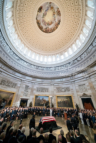 The casket of Sen. John McCain, R-Ariz., lies in state at the U.S. Capitol, Friday, Aug. 31, 2018, in Washington. (AP Photo/Andrew Harnik, Pool)