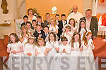 COMMUNION: The students of Blennerville NS with their teacher Liz O'Connor and Principal Michael O'Connor after receiving their First Holy Communion from Fr O'Leary at St Brendan's Church, Curraheen on Saturday pictured Liz O'Connor, Fr O'Leary, Michael O'Connor, Eugene Buckley, Andrew Breen, Laura Devane, Caroline Donnelly, Sarah Ferris, Ali Gardezi, Ava Kelly, Katie Launcher, Domnick Martin Lyons, Clara Moran, Robbie Morrissey, Liam Murray, Lily O'Brien, Casey Ann Corkery O'Donnell, Rebecca Poultney, Kara Quinlivan, Donna Quirke, Damien Quirke, Martin Savage, Caoimhe Tobin and Donald Walsh.