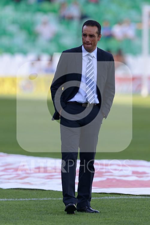 Jose Luis Otra Huelva's coacher just before starting the match between Real Betis and Recreativo de Huelva day 10 of the spanish Adelante League 2014-2015 014-2015 played at the Benito Villamarin stadium of Seville. (PHOTO: CARLOS BOUZA / BOUZA PRESS / ALTER PHOTOS)