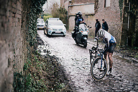 Peter Williams (GBR/SwiftCarbon) trying to get started again after a crash<br /> <br /> 51th Le Samyn 2019 <br /> Quaregnon to Dour (BEL): 200km<br /> <br /> ©kramon