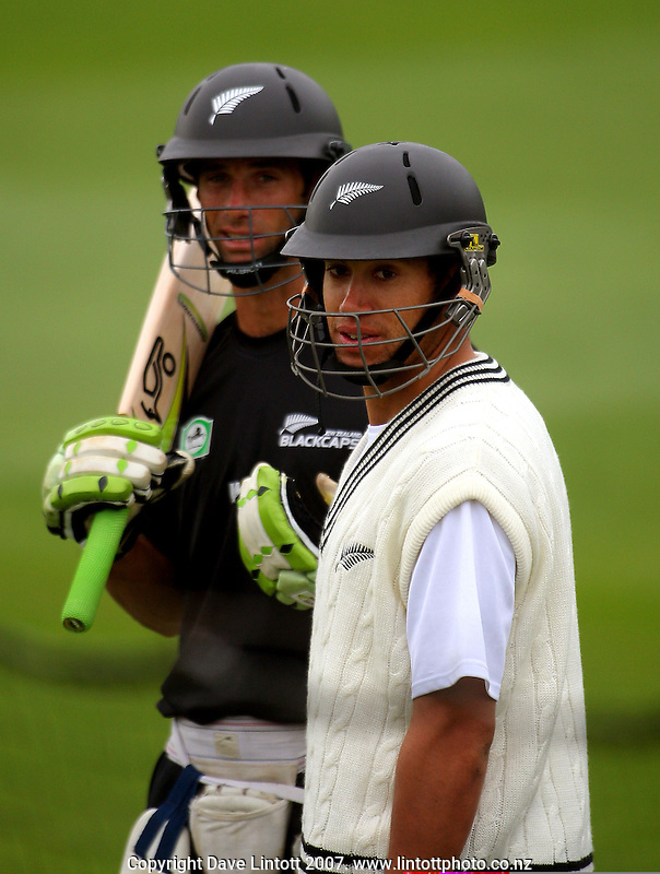 Grant Elliot and Ross Taylor prepare for batting practice during the Black Caps nets practice in the build-up for the National Bank Test Match Series second test between New Zealand Black Caps and England at the Allied Prime Basin Reserve,Wellington, New Zealand on Tuesday, 11 March 2008. Photo: Dave Lintott / lintottphoto.co.nz