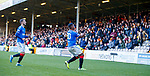 15.12.2019 Motherwell v Rangers: Alfredo Morelos scores for Rangers and celebrates to the Motherwell fans