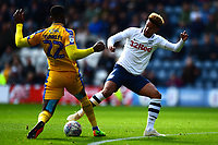 Preston North End's Callum Robinson vies for possession with Wigan Athletic's Cheyenne Dunkley<br /> <br /> Photographer Richard Martin-Roberts/CameraSport<br /> <br /> The EFL Sky Bet Championship - Preston North End v Wigan Athletic - Saturday 6th October 2018 - Deepdale Stadium - Preston<br /> <br /> World Copyright &copy; 2018 CameraSport. All rights reserved. 43 Linden Ave. Countesthorpe. Leicester. England. LE8 5PG - Tel: +44 (0) 116 277 4147 - admin@camerasport.com - www.camerasport.com