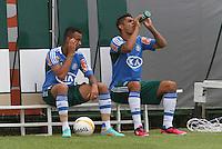 SÃO PAULO, SP, 11 JANEIRO DE 2013  - TREINO PALMEIRAS - Os jogadores Wesley e  Luan e durante treinamento na Academia de Futebol, na manha dessa sexta-feira, 11, Barra Funda, zona oete  da capital -   FOTO LOLA OLIVEIRA - BRAZIL PHOTO PRESS