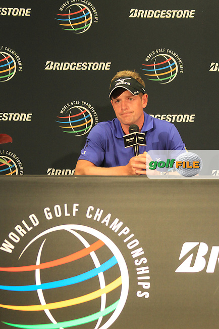Luke Donald (ENG) in the interview room during Wednesday's practice day of the 2012 World Golf Championship Bridgestone Invitational at The Firestone Country Club, Akron, Ohio, USA 1st August 2012 (Photo Eoin Clarke/www.golffile.ie)