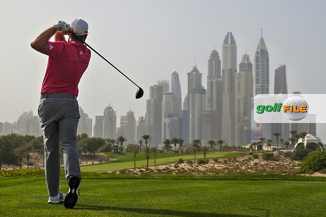 Tyrrell Hatton (ENG) on the 8th during Round 2 of the Omega Dubai Desert Classic, Emirates Golf Club, Dubai,  United Arab Emirates. 25/01/2019<br /> Picture: Golffile | Thos Caffrey<br /> <br /> <br /> All photo usage must carry mandatory copyright credit (© Golffile | Thos Caffrey)