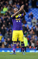 Pictured: Leroy Lita of Swansea thanks away supporters. Sunday 16 February 2014<br />