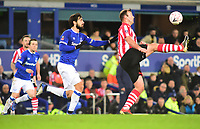 Lincoln City's Matt Rhead under pressure from Everton's Andre Gomes<br /> <br /> Photographer Andrew Vaughan/CameraSport<br /> <br /> Emirates FA Cup Third Round - Everton v Lincoln City - Saturday 5th January 2019 - Goodison Park - Liverpool<br />  <br /> World Copyright &copy; 2019 CameraSport. All rights reserved. 43 Linden Ave. Countesthorpe. Leicester. England. LE8 5PG - Tel: +44 (0) 116 277 4147 - admin@camerasport.com - www.camerasport.com