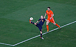 Andres Iniesta of Spain controls the ball during  2010 FIFA World Cup Final match, Netherlands vs Spain, Soccer City Stadium -Johannesburg, South Africa, Sunday, July, 11, 2010. Mark Van Bommel (6) (credit & photo: Pedja Milosavljevic / +381 64 1260 959 / thepedja@gmail.com / STARSPORT )