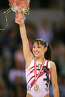 Oct 19, 2006; Aarhus, Denmark;  Vanessa Ferrari of Italy celebrates her gold medal win in ALL-Around final at 2006 World Championships Artistic Gymnastics.<br />