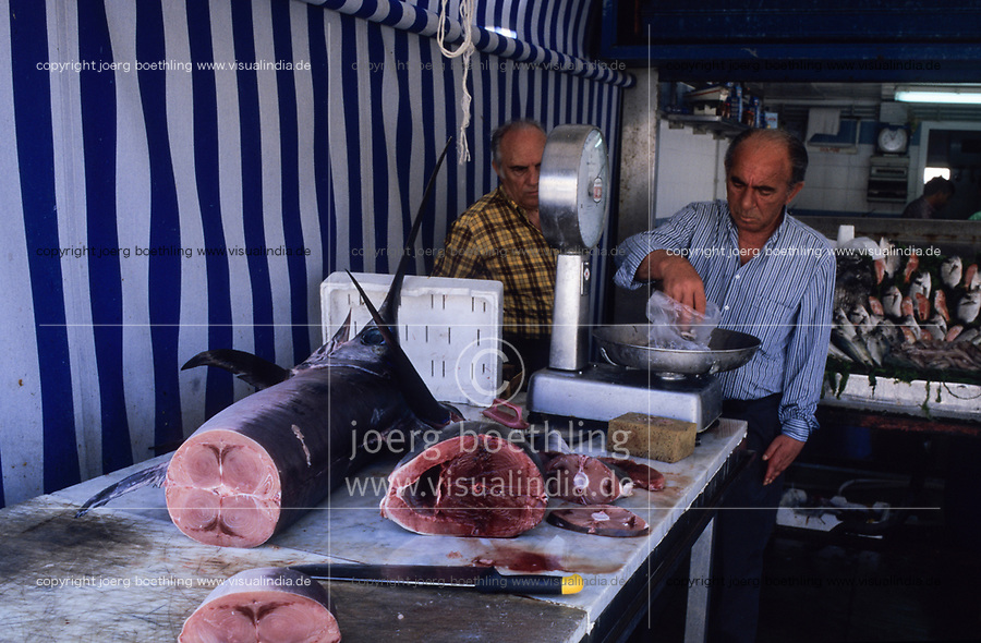 ITALY, Sicily, Palermo, fish market, selling of fresh Tuna fish and sword fish