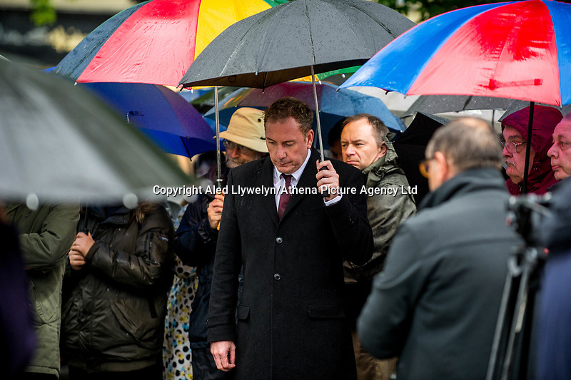 Monday 05 June 2017<br /> Pictured: Leader of Swansea City Council Rob Stewart during the minutes silence <br /> Re: A vigil has been held in Swansea City Centre to remember the victims of the recent terror attack in London. Stand up to Racism Swansea have organised the event alongside Swansea Coalition Against War and Swansea People's Assembly.