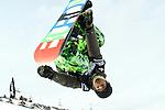 2011 FIS Snowboard World Cup  Championships , halfpipe qualification men's, La Molina. Picture show Nikolay Bilanin RUS FIS SNOWBOARD WORLD CHAMPIONS LA MOLINA