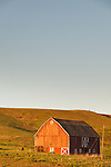 Warm afternoon light bathes a weathered red barn in warmth in May.