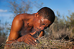 Botswana, Kalahari, bushman (san) making fire the traditional way