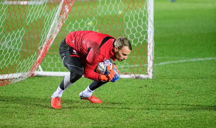 Lincoln City's Sam Slocombe during the pre-match warm-up<br /> <br /> Photographer Andrew Vaughan/CameraSport<br /> <br /> The EFL Checkatrade Trophy Second Round - Accrington Stanley v Lincoln City - Crown Ground - Accrington<br />  <br /> World Copyright &copy; 2018 CameraSport. All rights reserved. 43 Linden Ave. Countesthorpe. Leicester. England. LE8 5PG - Tel: +44 (0) 116 277 4147 - admin@camerasport.com - www.camerasport.com