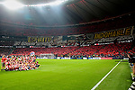 Supporters of Atletico de Madrid during La Liga match between Atletico de Madrid and Real Madrid at Wanda Metropolitano Stadium{ in Madrid, Spain. {iptcmonthname} 28, 2019. (ALTERPHOTOS/A. Perez Meca)
