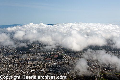 aerial photograph residential neighborhood fog San Francisco California