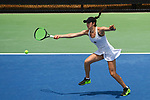 WINSTON SALEM, NC - MAY 22: Emma Kurtz of Vanderbilt Commodores hits a return against the Stanford Cardinal during the Division I Women's Tennis Championship held at the Wake Forest Tennis Center on the Wake Forest University campus on May 22, 2018 in Winston Salem, North Carolina. Stanford defeated Vanderbilt 4-3 for the national title. (Photo by Jamie Schwaberow/NCAA Photos via Getty Images)